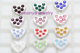 Wholesale 12 Months Live - 12 month heart birthstone floating charms 12 desing 120pcs lot ,glass living locket not included