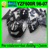Wholesale Yamaha Yzf Thundercat Fairing - 2gifts&Tank Body ALL Black For YAMAHA YZF600R 1996 1997 1998 1999 2000 Thundercat YZF 600R 2004 2005 2006 2007 Gloss Flat Fairings
