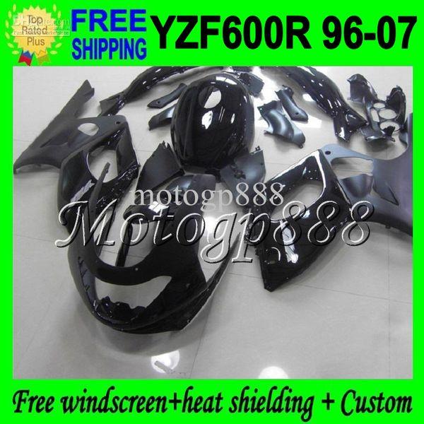 2giftsTank Body ALL Black para YAMAHA YZF600R 1996 1997 1998 1999 2000 Thundercat YZF 600R 2004 2005 2006 2007 Carenados planos brillantes