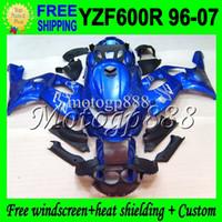 Wholesale Thundercat Fairings - 2gifts+Tank Blue black For 96-07 YAMAHA YZF600R Thundercat 96 97 98 99 00 01 02 03 04 05 06 07 2MP03 YZF 600R BLUE!! YZF-600R ABS Fairing