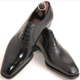Wholesale Solid Hd - Men's Dress shoes Oxfords shoes Men's shoes Custom handmade shoes Genuine calf leather semi brogue shoes HD-145