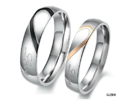Wholesale Real Steel Ring - Retail Fashion Couple Stainless Steel Real Love Wedding Engagement Bands Promise Ring