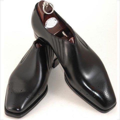 Men Dress shoes Custom Handmade Men shoes Slip-on shoes Genuine calf Leather Color Black punched design HD-146