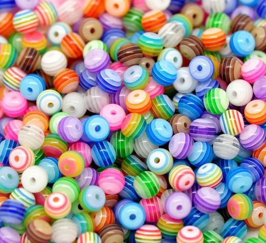 500 unids / lote 6mm / 8mm color de la mezcla de Rayas Redondas de Resina Spacer Beads para Chunky Necklace Bracelet DIY