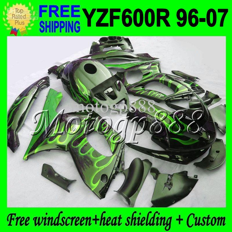 2giftsTank 96-07 BodyFor YAMAHA Llamas verdes YZF600R Thundercat 96 97 98 99 YZF 600R 00 01 02 03 2MP63 Negro YZF-600R 04 05 06 07 Carenado