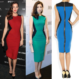 Wholesale Womens Sleeveless Tops Xl - New Arrivals Top Fashion Womens' Optical Illusion slimming Stretch Bodycon Business Party Knee-Length Cocktail Pencil Dresses