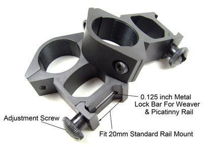 전술 2 x 25mm 1 인치 반지 범위 마운트 20mm 위버 레일 picatinny