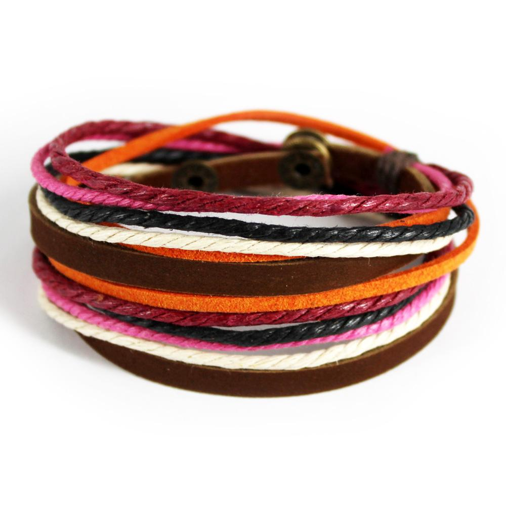 hotsale new arrival high quality fashion handmade braided brown leather bracelet and hemp ethnic wrap bracelets C0315c 20pcs/ lot