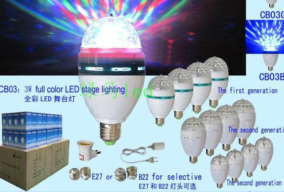Brand new Crystal Magic Ball Effect Stage Lights Led E27 3W RGB Rotating Lamp For Party Disco DJ Bar