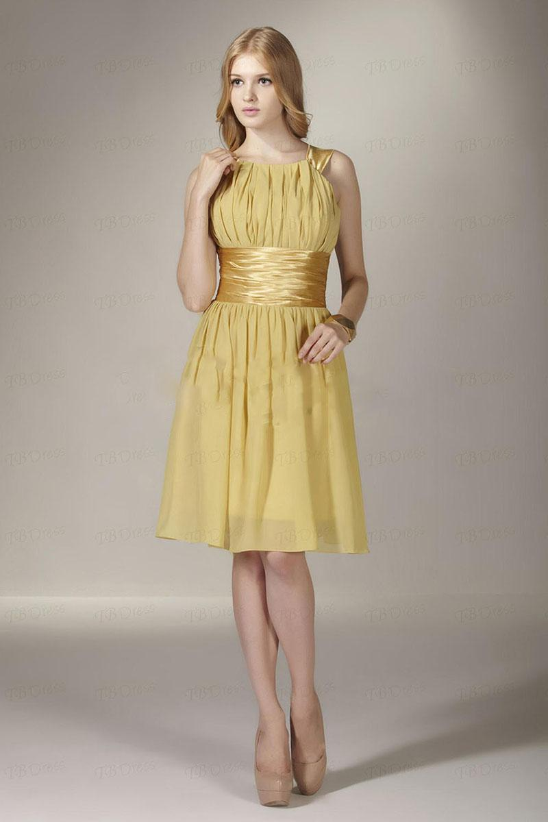 2014 amazing gold a line waistband knee length chiffon empire 2014 amazing gold a line waistband knee length chiffon empire bridesmaid dress cocktail dresses green bridesmaid dresses long gowns from yourdresses ombrellifo Gallery