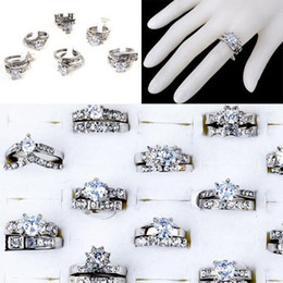 Wholesale cz platinum - Brand New Rings Jewelry Lots 10pcs Clear Cubic Zircon CZ Platinum P Womens Wedding Bridal Rings [CZ129*10]