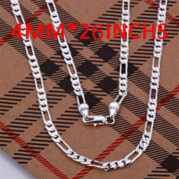 Wholesale Plastic 4mm - 4mm 26'' Men's Necklace 925 sterling silver long link chains n102 gift free shipping