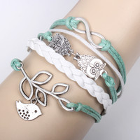 Wholesale owls infinity bracelet - 20pcs Infinity, Owls & Lucky Branch Leaf and Lovely Bird Charm Bracelet in Silver - Mint Green Wax Cords and Leather Braid