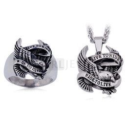 Wholesale Stainless Steel Eagle Rings - RP800712 Stainless Steel Mens Jewelry Live to Ride Ride to Live Eagle Cool Biker Ring Mens Pendant Set