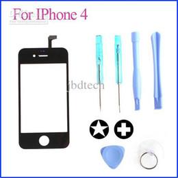 Lente di ricambio per vetro digitizer LCD touch screen di ricambio di alta qualità per iphone 4 con strumenti 100Pcs / Lot da