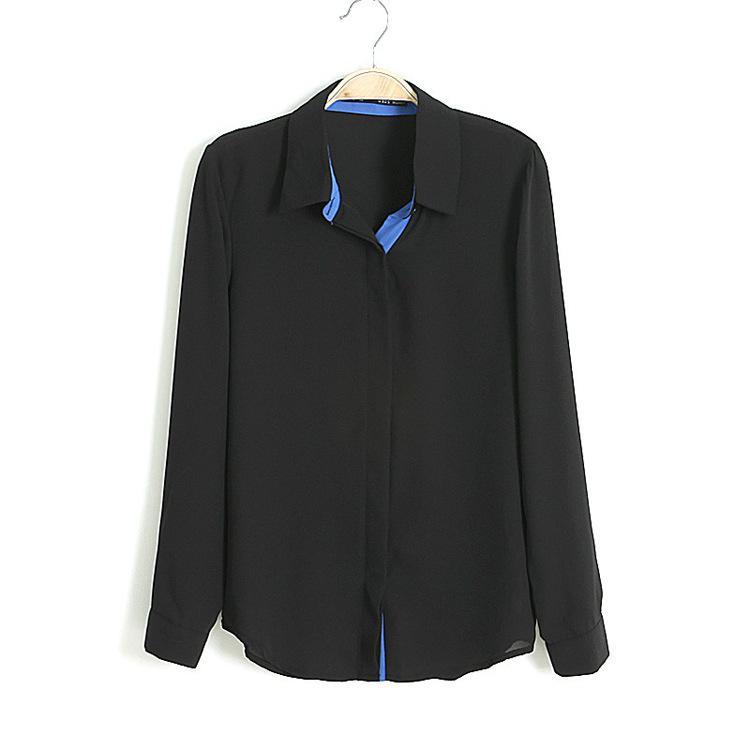 Nuevo otoño blusas de gasa Blusas de moda tops de las mujeres de manga larga blusa de solapa patchwork colores blusa cardigan camisetas SX50