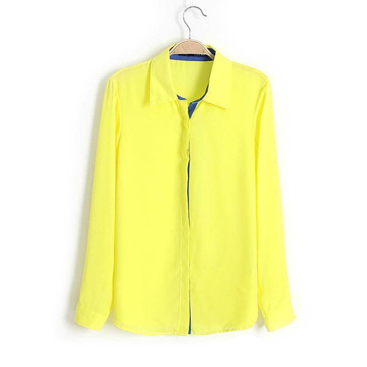 Neue Herbst Chiffonblusen Mode Blusen Frauen Tops Langarm Damen Bluse Revers Patchwork Farben Bluse Strickjacke T-Shirts SX50
