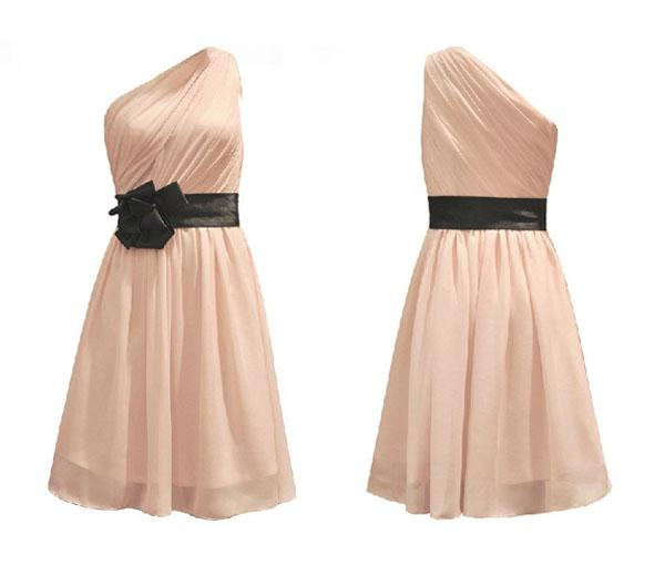 Klassische kurze Hochzeit Brautjungfer Prom Ball Abendchiffon Kleid Eine Schulter Formale Brautjungfer Kleider / Hochzeits-Partykleider