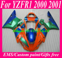 Wholesale Green R1 Fairings - 7 gifts!!! Fairing kit for 2000 2001 YAMAHA YZFR1 00-01 YZF R1 YZF-R1 YZR1000 00 01 orange blue green fairings body work YS20