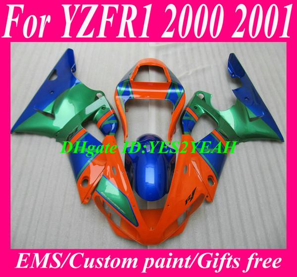 Verkleidungskit für YAMAHA YZFR1 YZF R1 2000 2001 YZF-R1 YZR1000 00 01 orange blau grün Verkleidungen Körperarbeit YS20