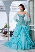 brautkleider arabisch wulstig großhandel-NEUER luxuriöser herrlicher a-line Schatz der Ankunft 2019 Sleeveless wulstige Hochzeitskleider einzigartige Brautkleider Araber 001