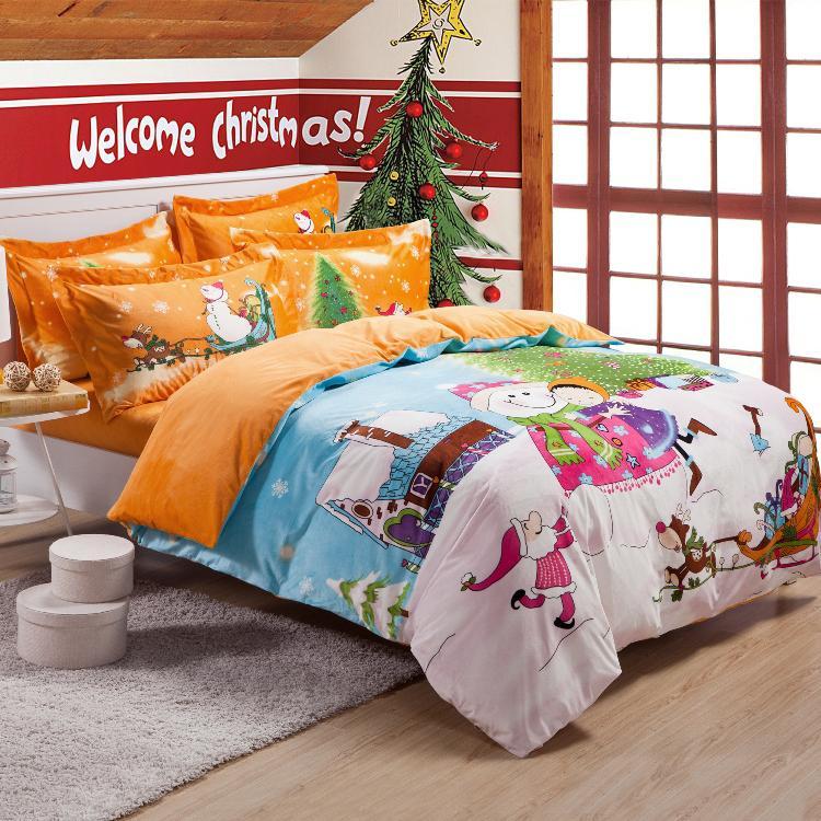 promotion children cartoon christmas bedding sets velvet doona