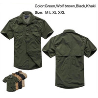 Wholesale Hiking Apparel - Four Colors Athletic & Outdoor Apparel Tactical Quick Dry Breathable Short Sleeve Nylon Men's Shirts Free Shipping