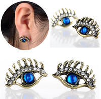 Wholesale Crystal Stud Earrings Bulk - New 4PCS Bronze Blue Stone Evil Eyes Fashion Alloy Stud Earrings Vintage Earrings for woman Bulk Price [JE06043*2]