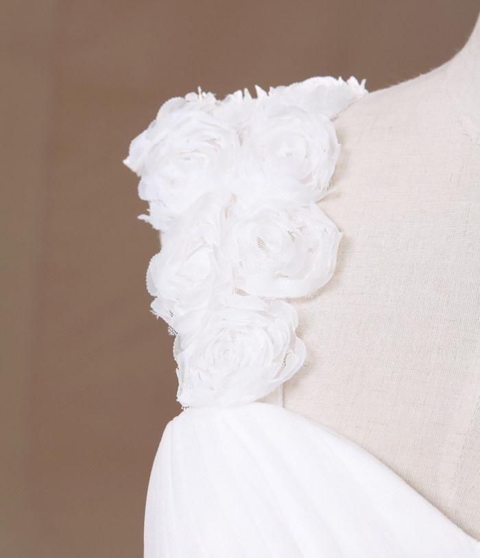 Chegada nova A Linha Cap Manga Comprimento Do Chão Branco Organza Handmade Flor Plissada Beads Desconto Vestidos De Casamento Populares Vestidos De Casamento