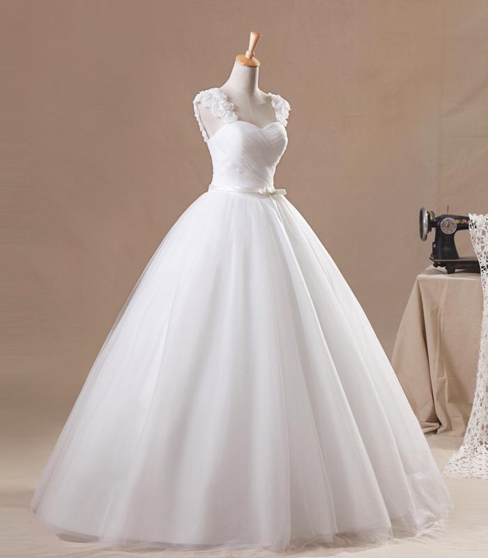 Neue Ankunft Eine Linie Flügelärmeln Bodenlangen Weiße Organza Handgemachte Blume Plissee Perlen Rabatt Brautkleider Beliebte Hochzeitskleider