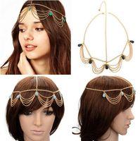 Wholesale Crown Cuff Headbands - 2PCS Bohemia Draping Turquoise Crown Cuff Tassel Chains Headband Headwrap Headdress Hair Jewelry Free Shipping[JH01025*2]