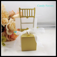 Wholesale Chairs Favors - Gloden Sliver White Chair Candy Boxes New Candy Favors Novelty Wedding Favors Favor holders 50pcs lot Wedding Candy package Theme Party