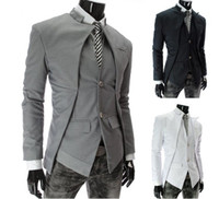 Wholesale Black Stand Collar Suit - 2013 New Brand British Style Slim Men Suits Mens Stylish Design Blazer Casual Business Fashion Jacket Black Grey White free shipping