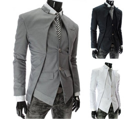 Wholesale Mens Casual Fashion Blazer - 2013 New Brand British Style Slim Men Suits Mens Stylish Design Blazer Casual Business Fashion Jacket Black Grey White free shipping