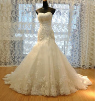 Wholesale Sexy Beaded Straight Wedding Gowns - 2016 New Wedding Dress Tulle Strapless Straight Neckline Lace Empire Bow Beaded Mermaid Bridal Gown Backless Wedding Dresses Gowns
