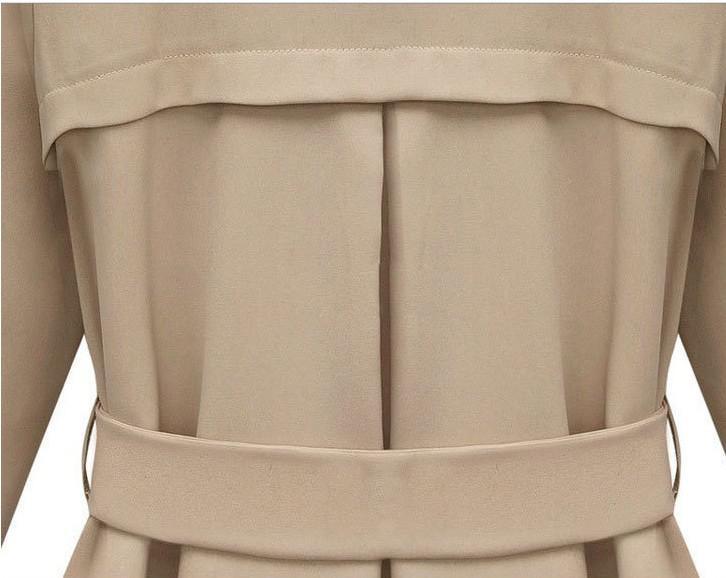 Trench abrigos para mujer Moda para mujer Abrigos de polvo de doble botonadura Chaqueta con cuello en V Sexy Abrigos Abrigos de manga larga ocasionales con cinturillas