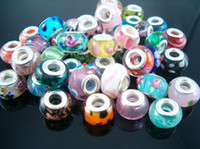 Wholesale Mixed Large Hole Beads - Hotl ! 100pcs Mix Color Lampwork Colored Glaze Large Hole Beads Fit Charm Bracelets