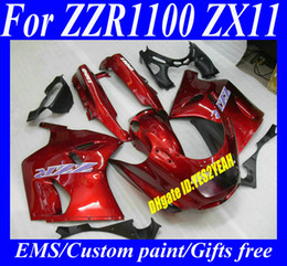 Wholesale Ninja Zx11 - Fairings set for KAWASAKI Ninja ZZR1100 93 94 95 98 99 00 01 ZX11 1993 2001 ZZR1100D Hot red Motorcycle Fairing set+7gifts ZD41