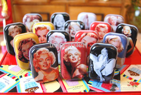 Free shipping (32 pcs/lot ) Metal Marilyn Monroe candy case box Party gifts box Jewelry box