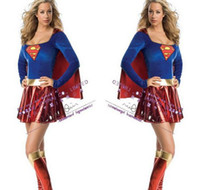 Wholesale adult easter dresses - Supergirl Deluxe Women's Superwoman SuperGirl Wonder Women Adult Costumes 2013 New sexy Halloween Game Cosplay Costume Dress Carnival Outfit