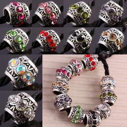 Wholesale Mixing Drums - 10*11mm 100pcs Mixed Crystal Rhinestone Drum Charms Big Hole Beads Fit European Chain Bracelet