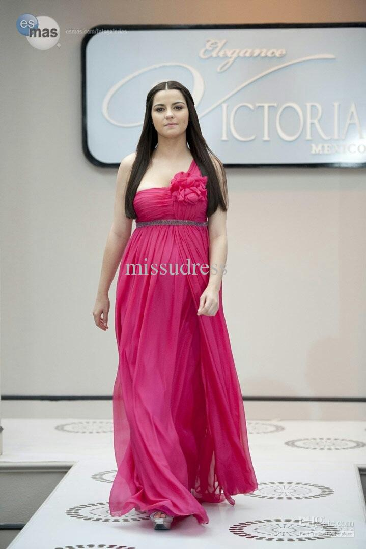 Fast shipping Fuchsia One Shoulder Flower Embellished Chiffon Maternity Evening Dress Plus Size Prom Dresses
