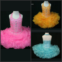 Wholesale Toddlers Discount Dresses - New Arrival Ball Gown Halter Mini Short Organza Ruffles Beads Sequins Pageant For Kids Prom Party Dresses Discount Flower Girl Dresses