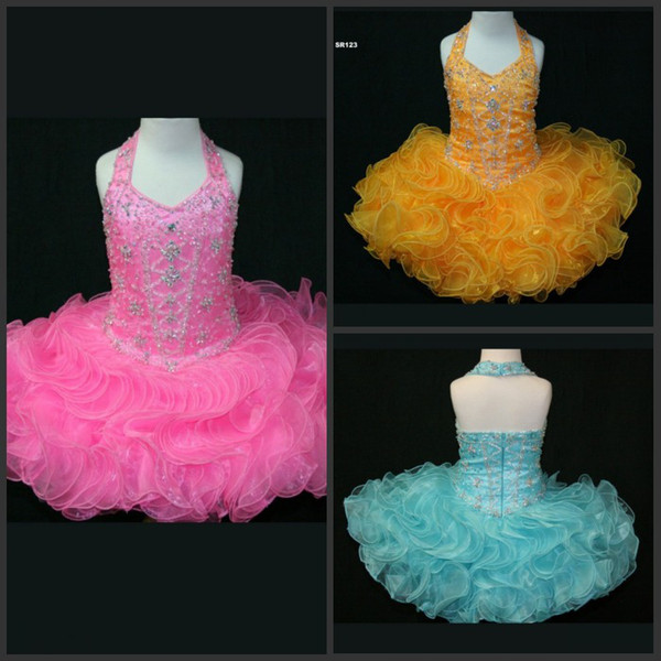 New Arrival Ball Gown Halter Mini Short Organza Ruffles Beads Sequins Pageant For Kids Prom Party Dresses Discount Flower Girl Dresses