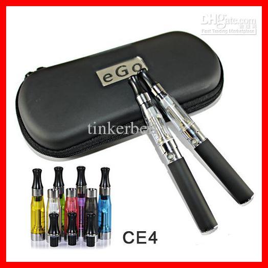 Ego T kit CE4 Electronic Cigarettes Atomizer 650mah 900mah 1100mah battery in zipper case Double kits e cigarettes Colors long wick,10pcs