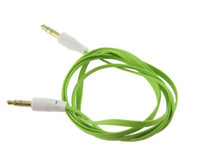 Wholesale Noodle 4s - Flat Stereo Audio Cable 3.5mm Jack Male to Male M  M noodle cable for iPhone 5 4 4S iPod