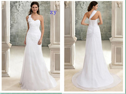 Wholesale One Hand Wedding Dresses - Wedding Dresses One Shoulder Sweep Train Lace Up Bridal Gowns Hand Made Flower Crystal Pleats Wedding Gowns