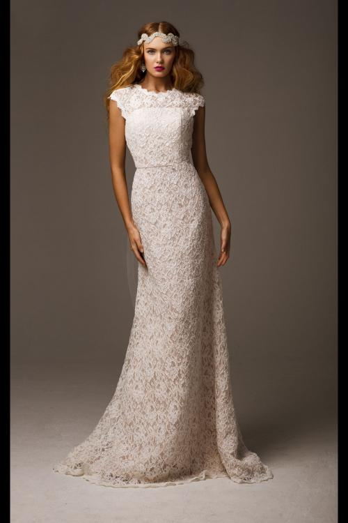New Hot Ivory Scoop Cap Sleeve Hollow Back Lace Wedding Dress Fashion Bridal Gown