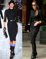 Wholesale Spring Autumn New Fashion Women Sexy Knee Length Bodycon Dresses Celebrity Victoria Beckham Military Uniform Dress