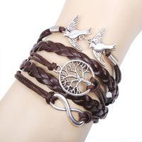 Wholesale vintage compass charm - Vintage Antique silver compass infinity bracelet with bird and wax cord bracelet Q8024
